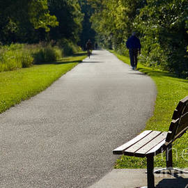 Park Bench and Person on Walking Trail Photo - Paul Velgos