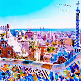 Marian Voicu - Park Guell Watercolor painting