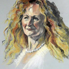 Greta Corens - Pastel Portrait of Woman with Frizzy Hair