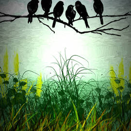 John Haldane - Pastoral Country Scene With Birds