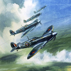 Patrolling flight of 416 Squadron, Royal Canadian Air Force, Spitfire Mark Nines - Wilf Hardy