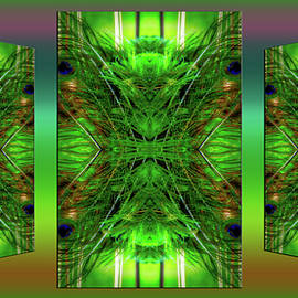Thomas Woolworth - Peacock Feathers Triptych 3 Panel Mirrored 01