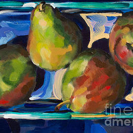 Pears in Glass on Blue Cloth