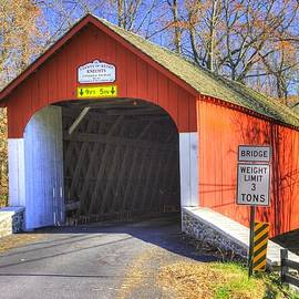 Michael Mazaika - Pennsylvania Country Roads - Knechts Covered Bridge Over Cooks Creek No. 1 - Autumn Bucks County