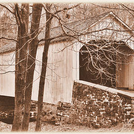 Michael Mazaika - Pennsylvania Country Roads - Loux Covered Bridge Over Cabin Run Creek No. 2AS - Autumn Bucks County