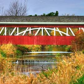 Michael Mazaika - Pennsylvania Country Roads - Oregon Dairy Covered Bridge Over Shirks Run - Lancaster County