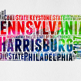 Pennsylvania Watercolor Word Cloud Map  - Naxart Studio