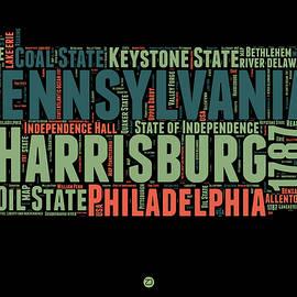 Pennsylvania Word Cloud Map 1 - Naxart Studio