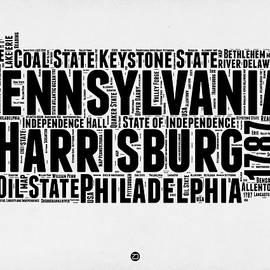 Pennsylvania Word Cloud Map 2 - Naxart Studio