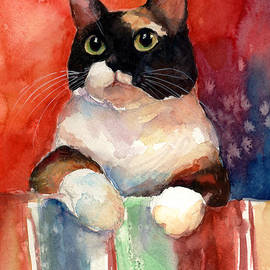 Svetlana Novikova - Pensive Calico Tubby Cat watercolor painting