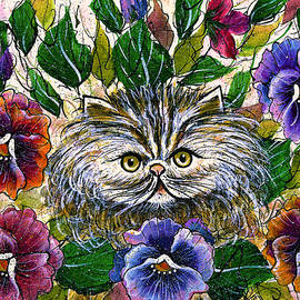 Natalie Holland - Persian Kitten With Pansies
