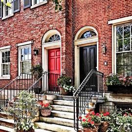 Susan Savad - Philadelphia PA - Townhouse With Red Geraniums