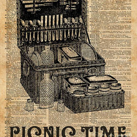 Picnic Time Vintage Illustration Dictionary Book Page Art