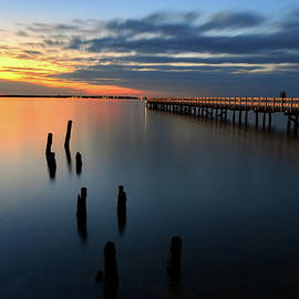 Bob Cuthbert - Pier Sunset in Seaside Park NJ