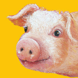 Jan Matson - Pig Painting on yellow background
