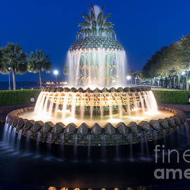 Dawna  Moore Photography - Pineapple Fountain at Twilight Charleston South Carolina