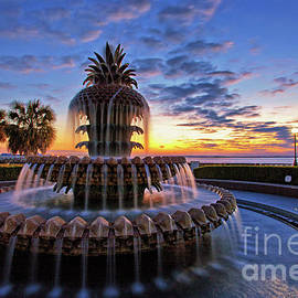 Sam Antonio Photography - The Pineapple Fountain at Sunrise in Charleston, South Carolina, USA