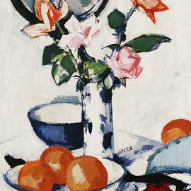 Pink and Tangerine Roses in a Blue and White Beaker Vase with Oranges in a Bowl and a Black Fan - Samuel John Peploe