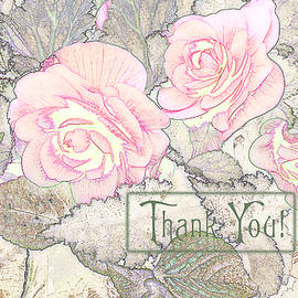 Sandra Foster - Pink Begonias - Thank You Card