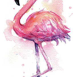 Pink Flamingo Watercolor Tropical Bird - Olga Shvartsur