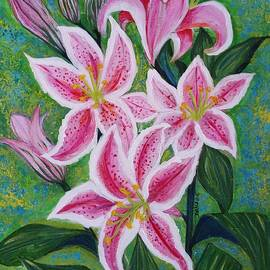 Jean Fassina - Pink Lilies And Buds As A Delightful Fragrant Gift