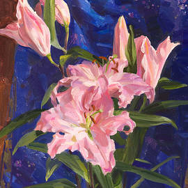 Victoria Kharchenko - Pink lilies and Chinese silk