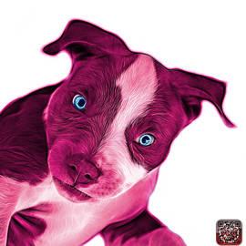 James Ahn - Pink Pitbull Dog Art 7435 - Wb