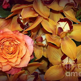 Photographic Art and Design by Dora Sofia Caputo - Pink Rose and Yellow Orchids