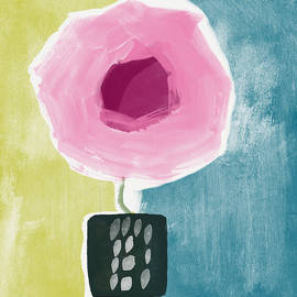 Pink Rose In A Small Vase- Art by Linda Woods - Linda Woods