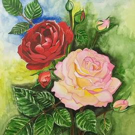 Pushpa Sharma - Pink Rose with Red Rose