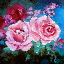 Jenny Lee - Pink Roses on Blue