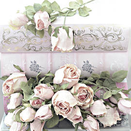 Pink Shabby Chic Roses On Pink Cottage Books - Shabby Cottage Pink Roses Home Decor - Kathy Fornal