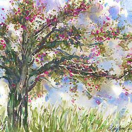 CheyAnne Sexton - Pink Springtime Fairy Tree watercolour