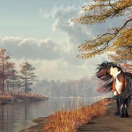 Daniel Eskridge - Pinto Horse on a Riverside Trail