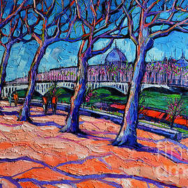 Mona Edulesco - Plane Trees Along The Rhone River - Spring In Lyon