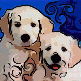 Omaste Witkowski - Playful Puppies Abstract Dog Art by Omaste Witkowski