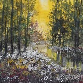 David K Myers - PM River Sunset, Gouache Painting