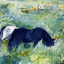 CheyAnne Sexton - Ponies in the Meadow watercolor