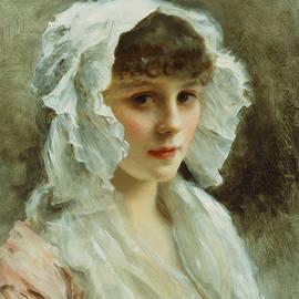 Portrait of a Lady in a White Bonnet - Gustave Jean Jacquet