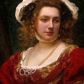 Portrait of an Elegant Lady in a Red Velvet Dress - Gustave Jacquet