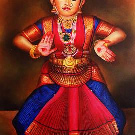 Portrait of Cute Girl in Bharathanatyam Posture