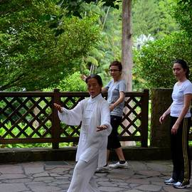 Imran Ahmed - Practising early morning Tai Chi exercise in Singapore park