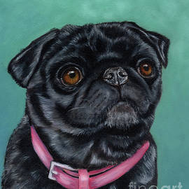 Pretty in Pink - Pug Dog painting by Michelle Wrighton