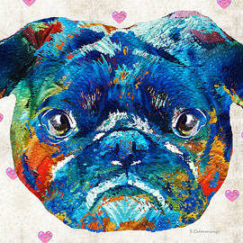 Sharon Cummings - Pug Love Dog Art by Sharon Cummings