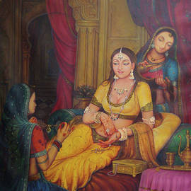 A K Mundra - Queen Princess Sitting  Dressing From Her Maids Kaneej  Royal Art Oil Painting On Canvas