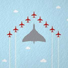 RAF Red Arrows in formation with Vulcan Bomber - Samuel Whitton
