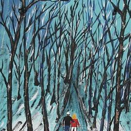 Jeffrey Koss - Rails To Trails  Painted On Black Slate
