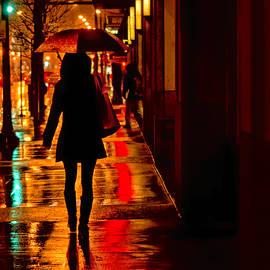 Nikolyn McDonald - Rain - City Night - Woman with Umbrella