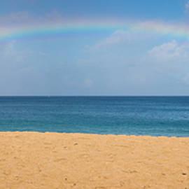 Rainbow Over The Pacific Panorama - Waimea Beach Oahu Hawaii