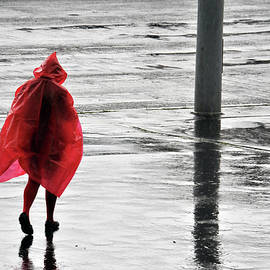 Akos Horvath - Rainy Day at Budapest.Woman in red
